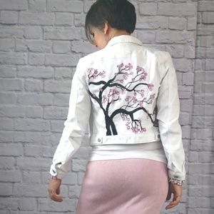 Sakura Pink Cherry Blossom Painted Denim Jacket